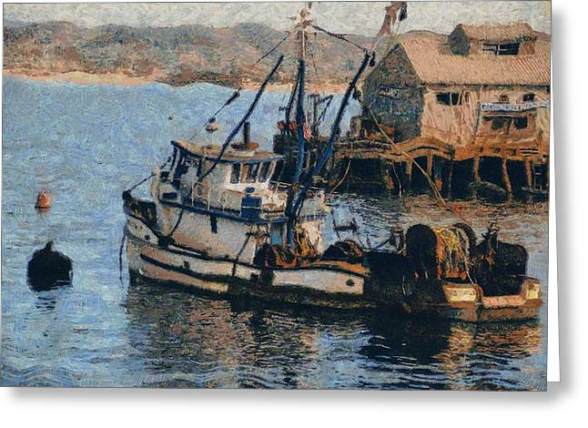 Fishing Trawler Greeting Cards - Monterey Fish Company Abstract Greeting Card by Barbara Snyder