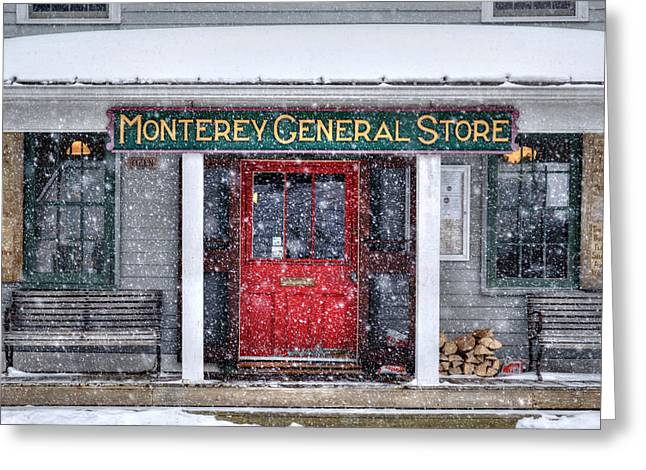 New England Snow Scene Greeting Cards - Monterey general Store - Berkshire County Greeting Card by Geoffrey Coelho