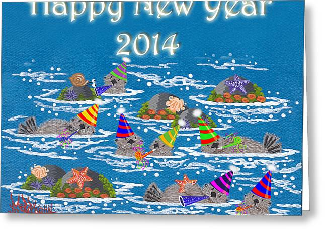 Happy New Year Greeting Cards - Monterey New Year Greeting Card by Merry  Kohn Buvia
