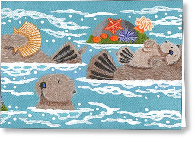Sea Urchins Greeting Cards - Monterey Otters V Greeting Card by Merry  Kohn Buvia