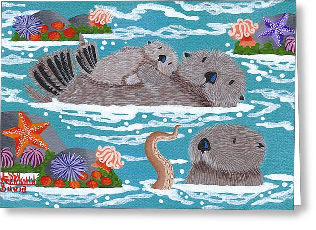 Primitive Greeting Cards - Monterey Otters VI Greeting Card by Merry  Kohn Buvia