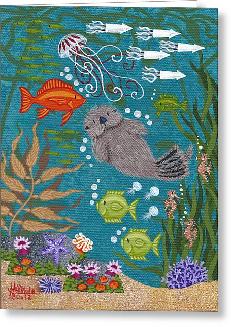 Mola Greeting Cards - Monterey Otters XVII Greeting Card by Merry  Kohn Buvia