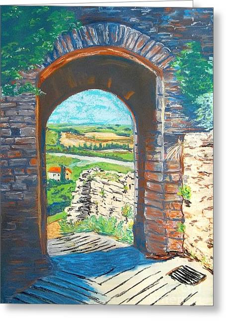 Tuscan Hills Pastels Greeting Cards - Monteriggioni in Tuscany Greeting Card by Frank Giordano