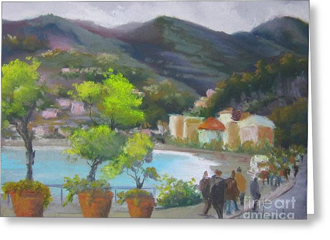 Italian Landscape Pastels Greeting Cards - Monterossa Greeting Card by Leah Wiedemer
