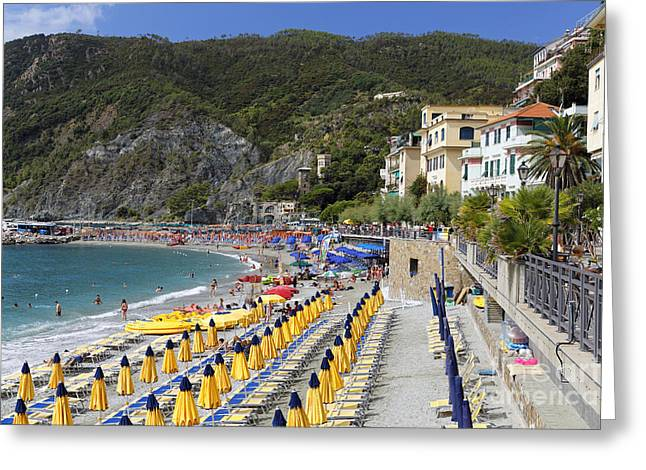 Beach Activities Greeting Cards - Monterosso Al Mare Cinque Terrre Greeting Card by George Oze