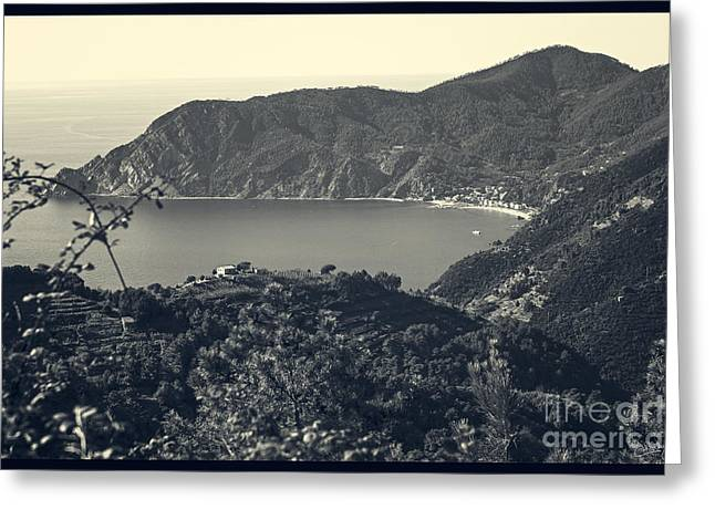 Monterosso Greeting Cards - Monterosso al Mare from Above Greeting Card by Prints of Italy