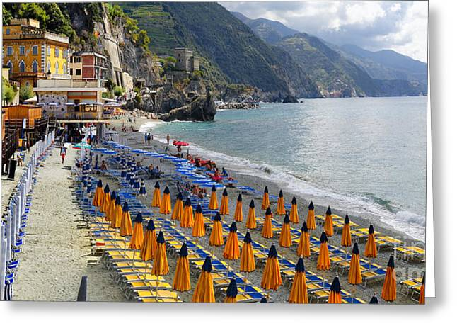 Beach Activities Greeting Cards - Monterosso Beach Summer Morning Greeting Card by George Oze