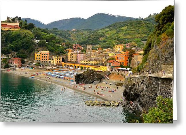 Monterosso Greeting Cards - Monterosso by land Greeting Card by Corinne Rhode