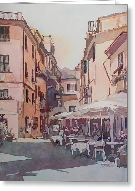 Monterosso Cafe Greeting Card by Jenny Armitage