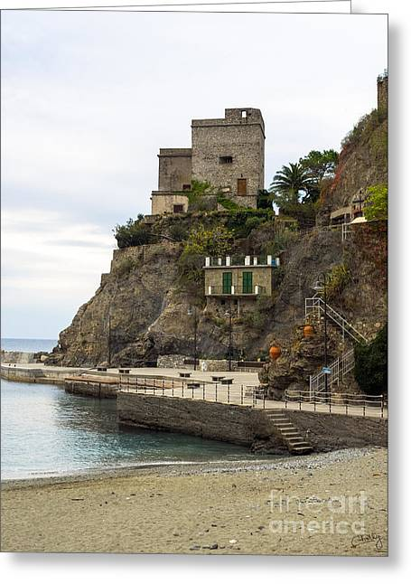 Monterosso Greeting Cards - Monterosso Harbor Pier Greeting Card by Prints of Italy