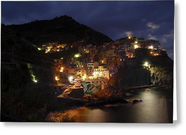 Italian Night Life Greeting Cards - Manarola Greeting Card by Kristen Giuffrida