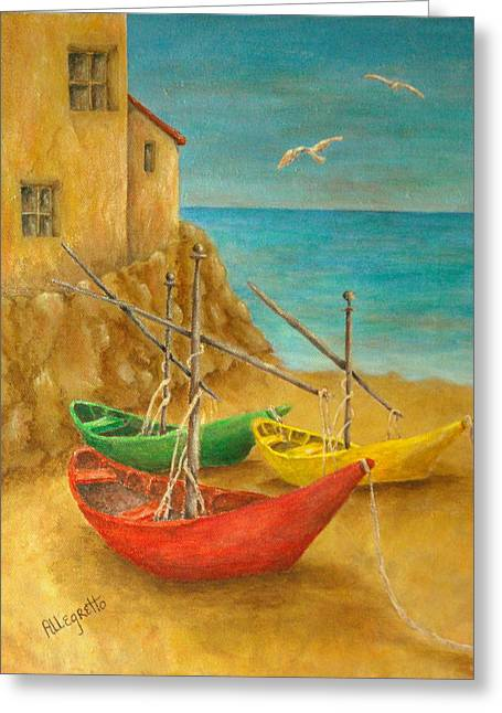 Italian Landscapes Greeting Cards - Monterosso on Riviera Di Levante Greeting Card by Pamela Allegretto
