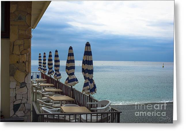 Monterosso Greeting Cards - Monterosso Outdoor Cafe Greeting Card by Prints of Italy