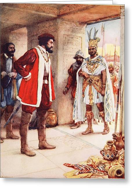 Colonisation Greeting Cards - Montezuma A Hostage In Cortes Hands Greeting Card by Arthur A. Dixon