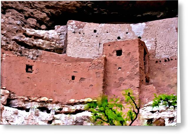 Overhang Digital Art Greeting Cards - Montezuma Castle  Greeting Card by  Bob and Nadine Johnston