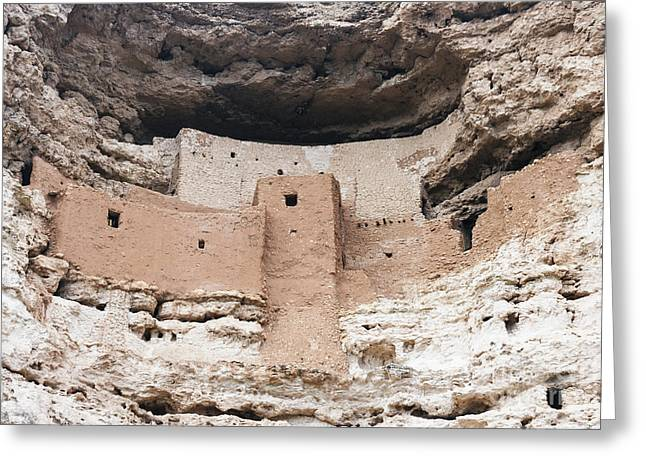 Overhang Greeting Cards - Montezuma castle Pueblo  Greeting Card by Frank Bach