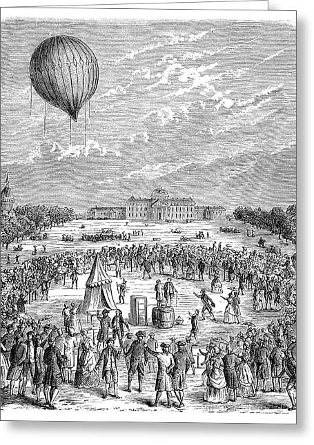 Montgolfier 'le Globe' Balloon Greeting Card by Science Photo Library