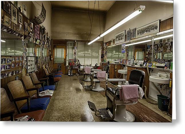 Haircuts Greeting Cards - Montgomery Barbershop Greeting Card by Mountain Dreams