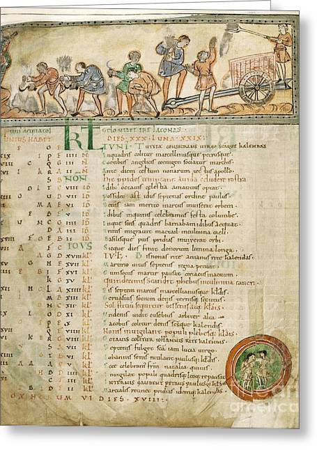 Harvest Moon Greeting Cards - Month Of June, Anglo-saxon Calendar Greeting Card by British Library