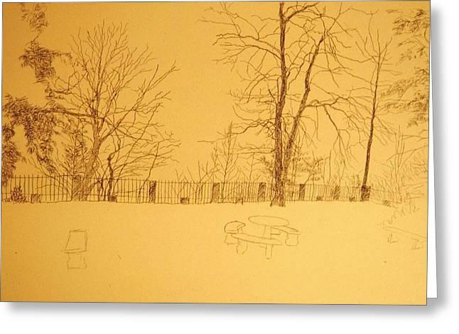 Herschel Pollard Greeting Cards - Montlakes terrace in winter Greeting Card by Herschel Pollard