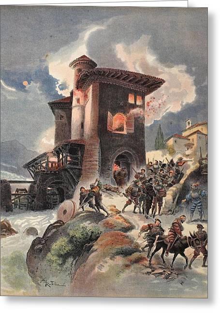 Massacre Greeting Cards - Montlue Seizes The Moulins Dauriol Greeting Card by Albert Robida