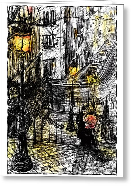 Night Lamp Mixed Media Greeting Cards - Montmartre 8 in colour Greeting Card by Tatiana Ivchenkova