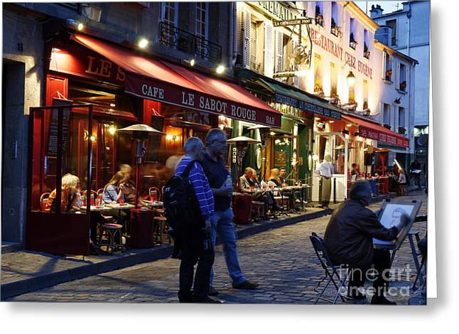 Artist Working Greeting Cards - Montmartre Artist Greeting Card by Colin Woods