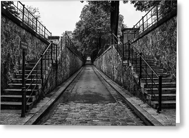 Graveyard Road Greeting Cards - Montmartre Cemetery Greeting Card by Nomad Art And  Design