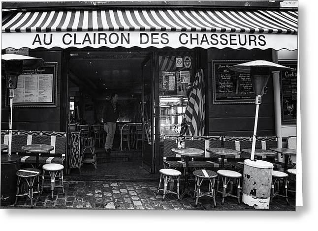 Table And Chairs Photographs Greeting Cards - Montmartre Cafe Greeting Card by Nomad Art And  Design