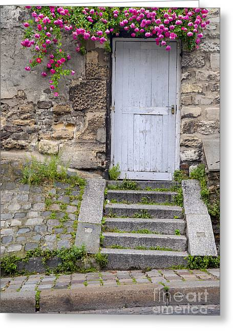Pink Road Greeting Cards - Montmartre Door Greeting Card by Brian Jannsen