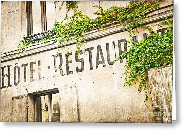 Romanticism Greeting Cards - Montmartre Hotel restaurant  Greeting Card by Delphimages Photo Creations