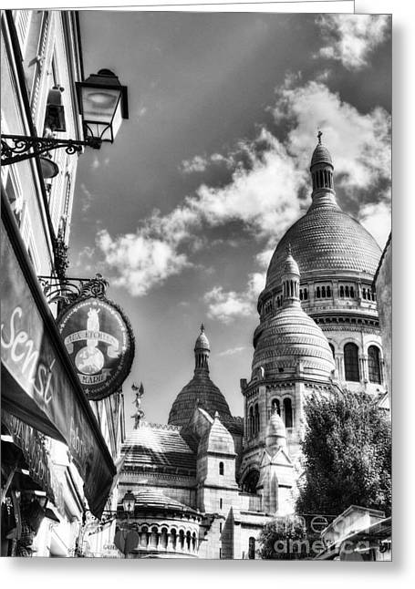 From The Dome Greeting Cards - Montmartre In Paris 4 BW Greeting Card by Mel Steinhauer