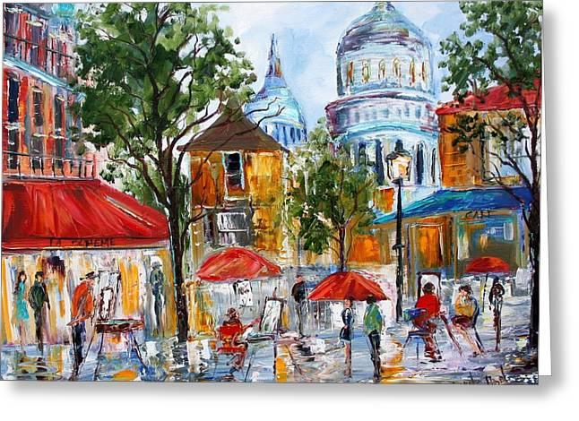 Montmartre Paris Greeting Card by Karen Tarlton