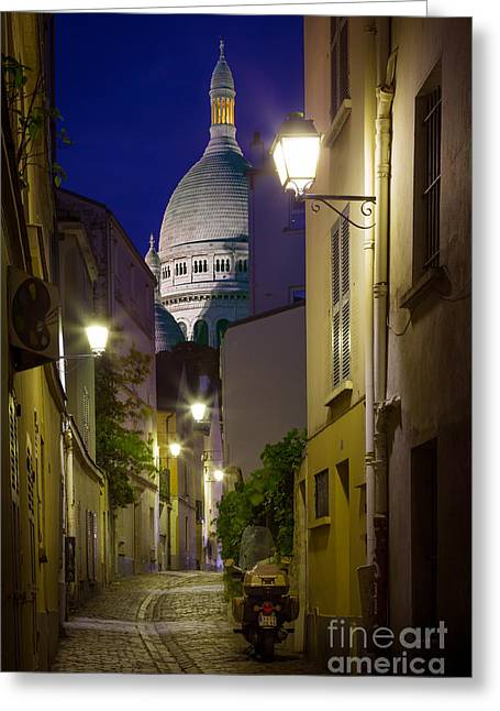 Night Lamp Greeting Cards - Montmartre Street and Sacre Coeur Greeting Card by Inge Johnsson