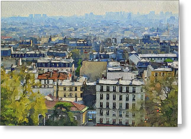 Old Town Digital Art Greeting Cards - Montmartre View Greeting Card by Yury Malkov