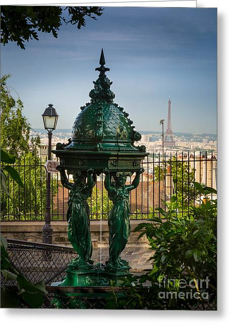 Daylight Greeting Cards - Montmartre Wallace Fountain Greeting Card by Inge Johnsson