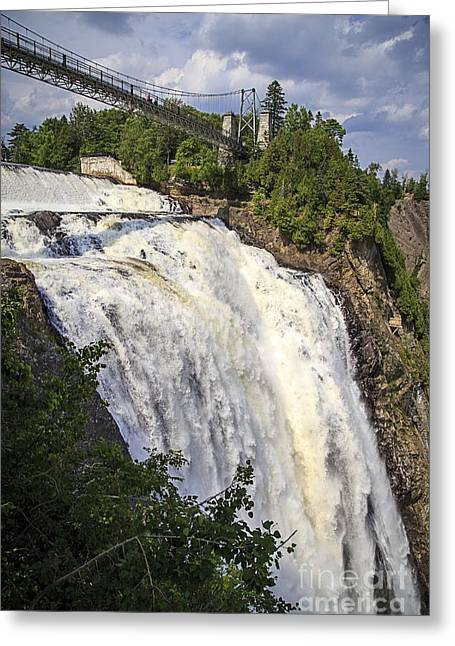 Niagara Falls Greeting Cards - Montmorency Falls Park Quebec City Canada Greeting Card by Edward Fielding