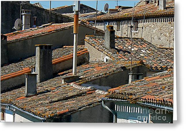 Wine Country Greeting Cards - Tile Rooftops of France Greeting Card by France  Art