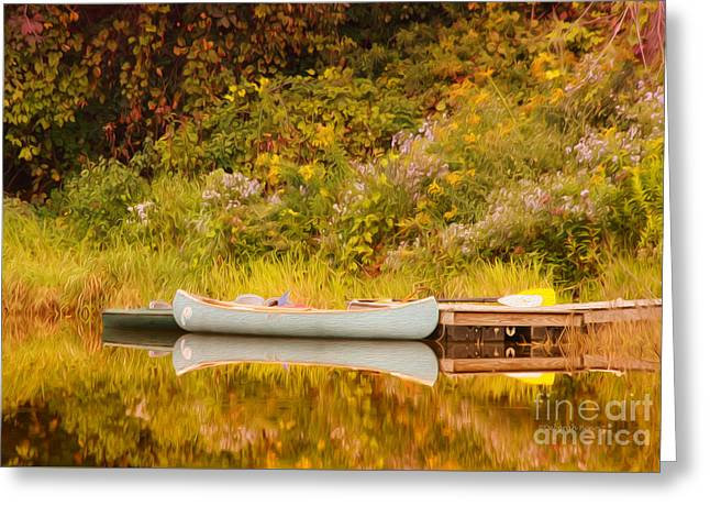 Canoe Greeting Cards - Montpelier Canoe Greeting Card by Deborah Benoit