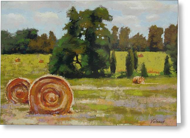 Haybales Pastels Greeting Cards - Montpelier Greeting Card by Diane Velasco