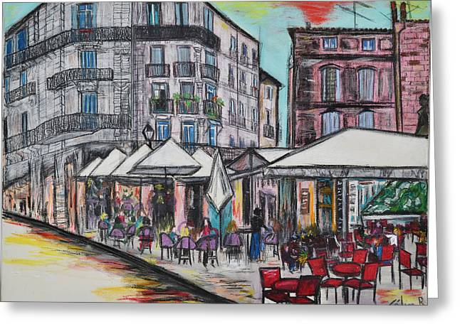 Urban Buildings Pastels Greeting Cards - Montpellier France Greeting Card by Rubino CELINE