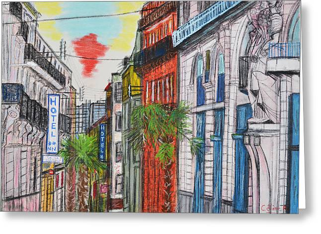 Downtown Pastels Greeting Cards - Montpellier gare France Greeting Card by Rubino CELINE