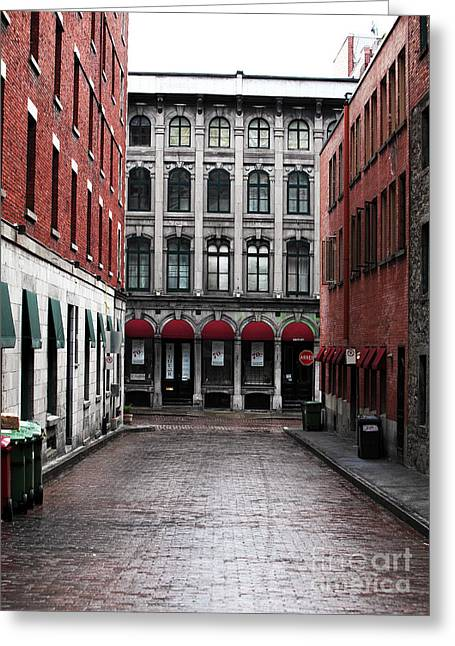 Quebec Province Greeting Cards - Montreal Alley Greeting Card by John Rizzuto
