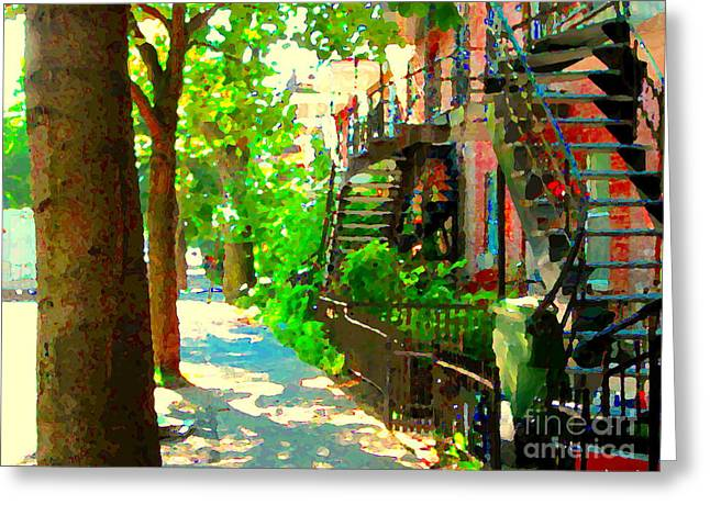 Montreal Streets Paintings Greeting Cards - Montreal Art Colorful Winding Staircase Scenes Tree Lined Streets Of Verdun Art By Carole Spandau Greeting Card by Carole Spandau