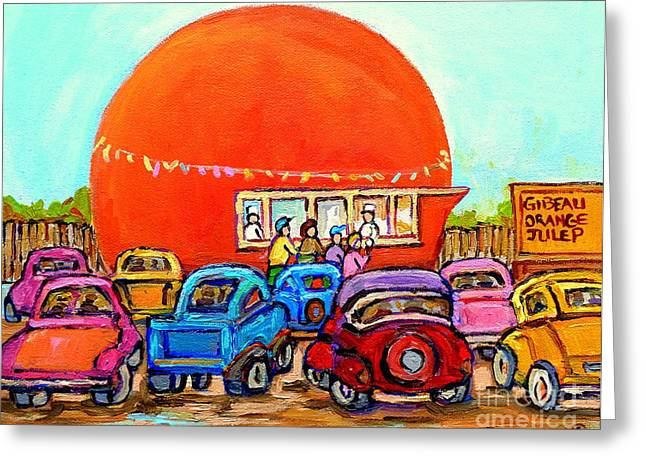 Orange Julep Greeting Cards - Montreal Art Orange Julep Paintings Montreal Summer City Scenes Carole Spandau Greeting Card by Carole Spandau