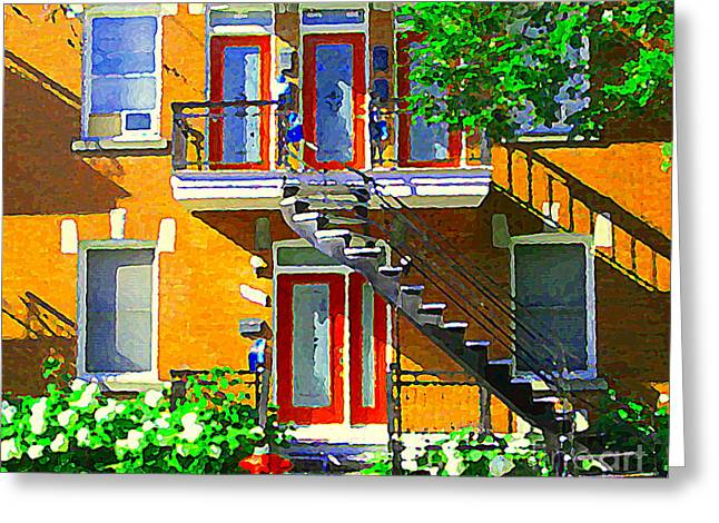 Street Scenes Greeting Cards - Montreal Art Seeing Red Verdun Wooden Doors And Fire Hydrant Triplex City Scene Carole Spandau Greeting Card by Carole Spandau