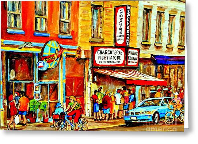 The Main Montreal Greeting Cards - Montreal Bike Path Reserved Lane Cyclists Drive By Schwartzs Deli  Line-up Montreal Paintings Greeting Card by Carole Spandau
