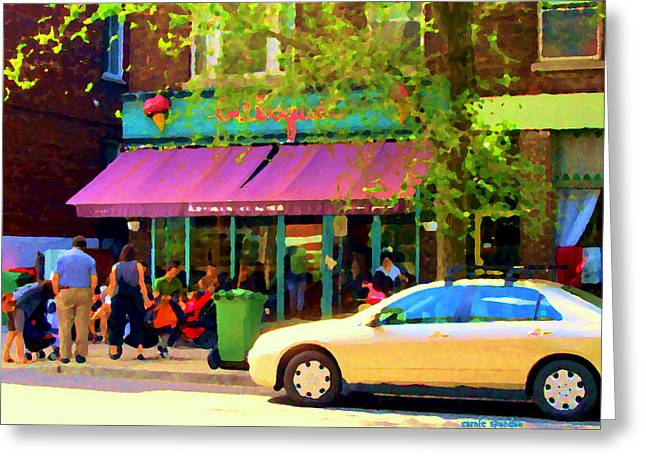 Montreal Cafe Scenes Beautiful Bilboquet On Bernard Creme Glacee Summer City Scene Carole Spandau  Greeting Card by Carole Spandau
