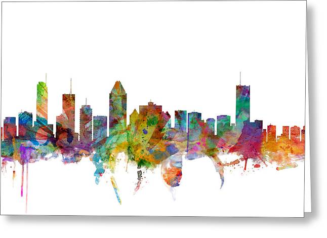 Canadian Digital Art Greeting Cards - Montreal Canada Skyline Greeting Card by Michael Tompsett