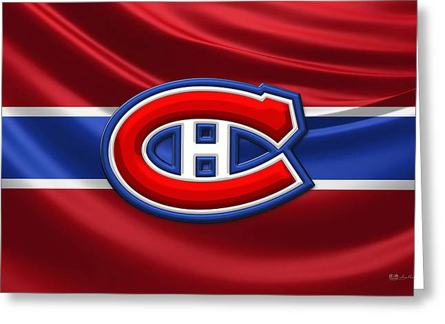 Hockey Memorabilia Greeting Cards - Montreal Canadiens - 3D Badge over Silk Flag Greeting Card by Serge Averbukh